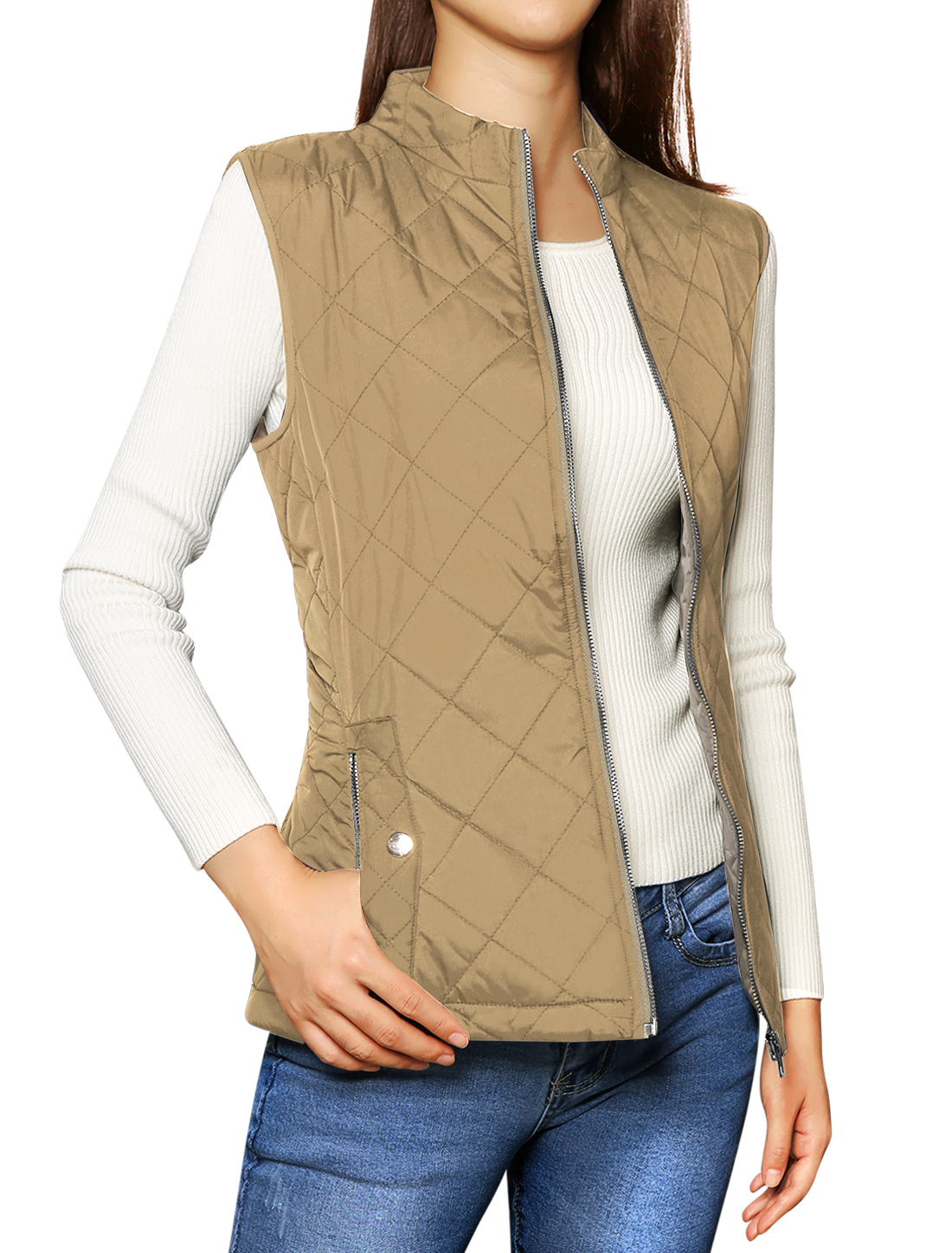 Allegra K Woman Zip Up Front Pockets Quilted Padded Vest Khaki M (US 10)