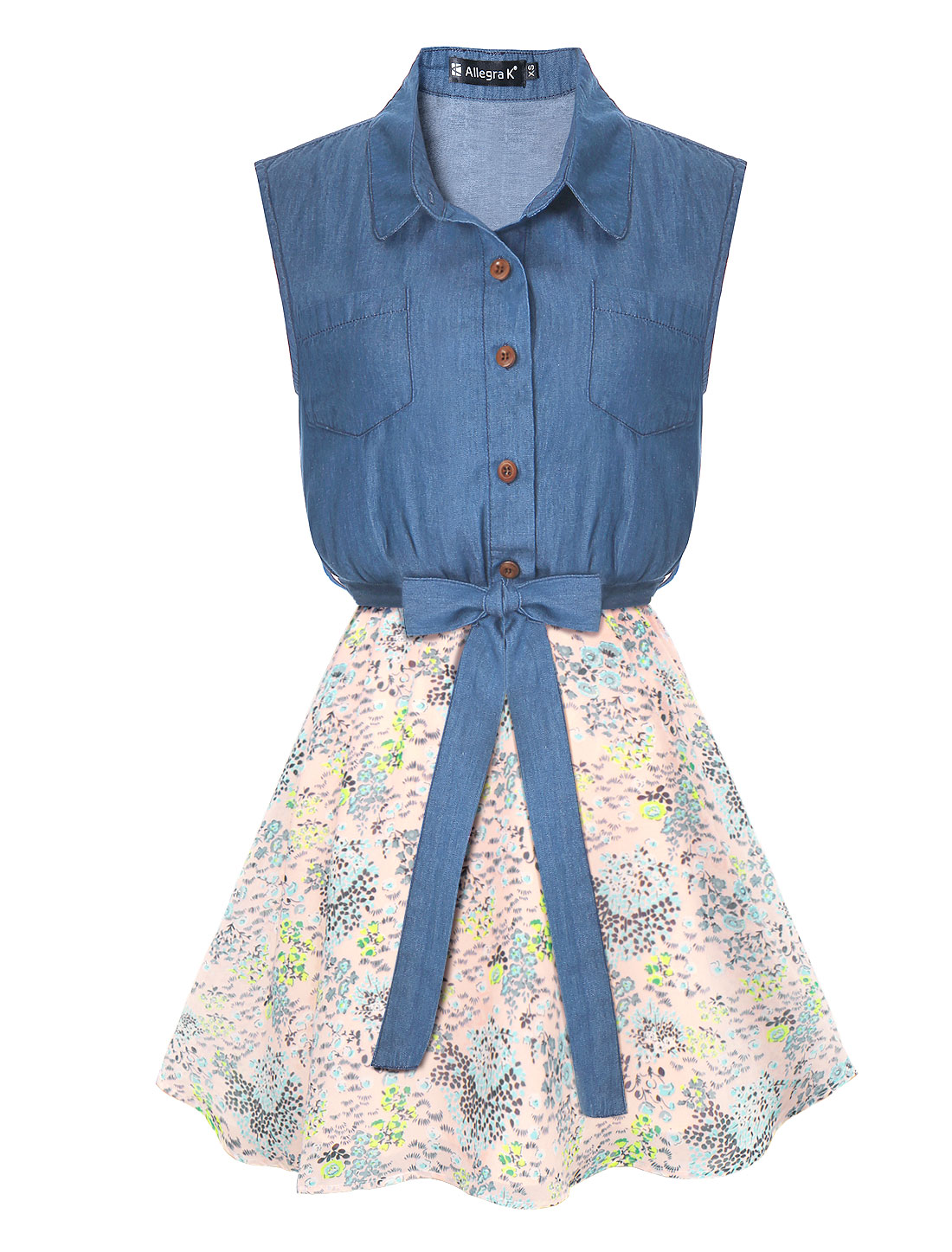 Lady Half Placket Flower Chiffon Panel Belted Denim Shirt Dress Pink L