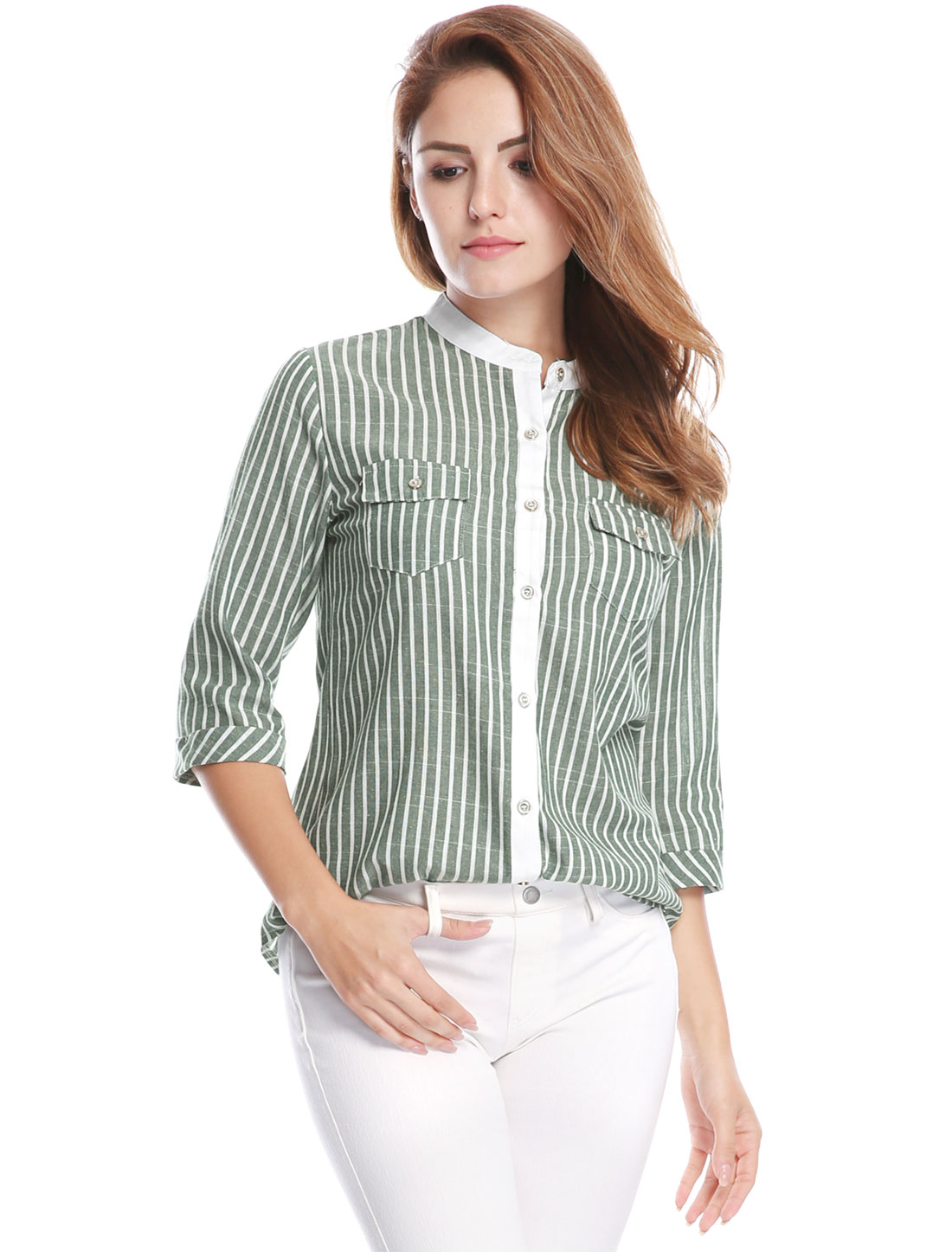 Woman Cuffed 3/4 Sleeves Stand Collar Buttoned Striped Shirt Green M
