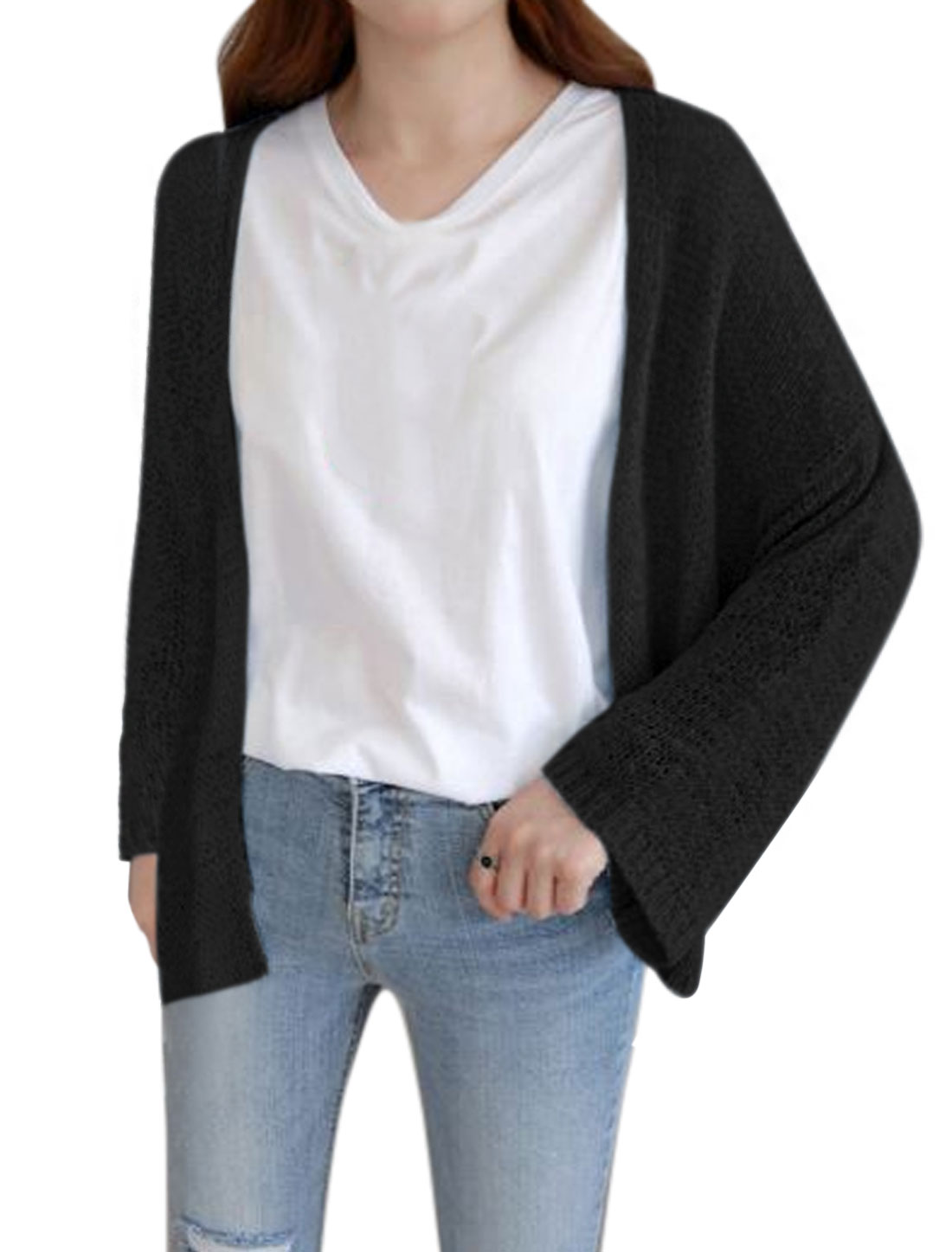 Women Long Sleeves Front Opening Loose Knit Cardigan Black XS