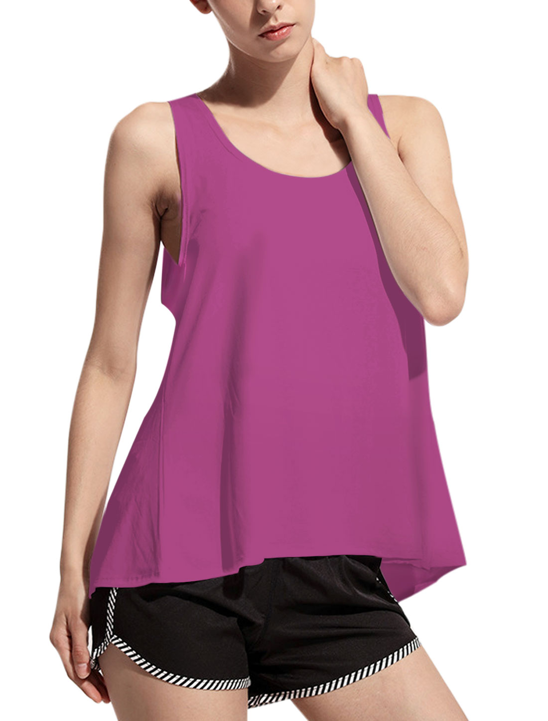 Women Sleeveless Scoop Neck Tulip Back Loose Tank Top Purple S