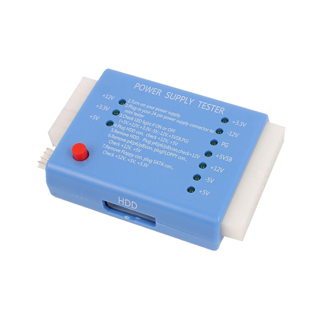 20/24 Pin PC ITX ATX BTX SATA Computer Switch Control Power Supply Tester Blue
