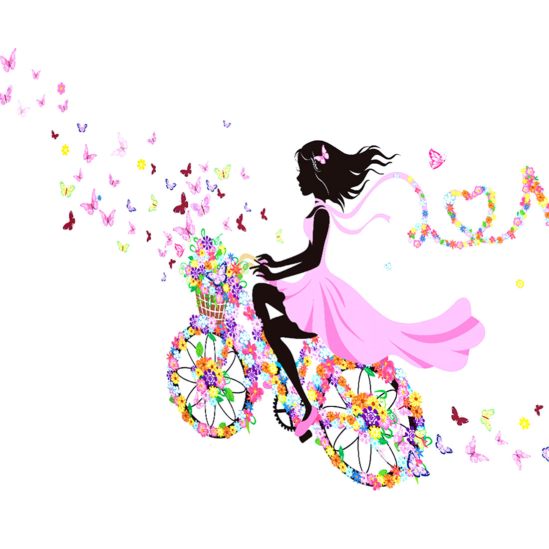 Bicycle Butterfly Flower Girl Pattern Wall Sticker Removable Art Vinyl Decal DIY