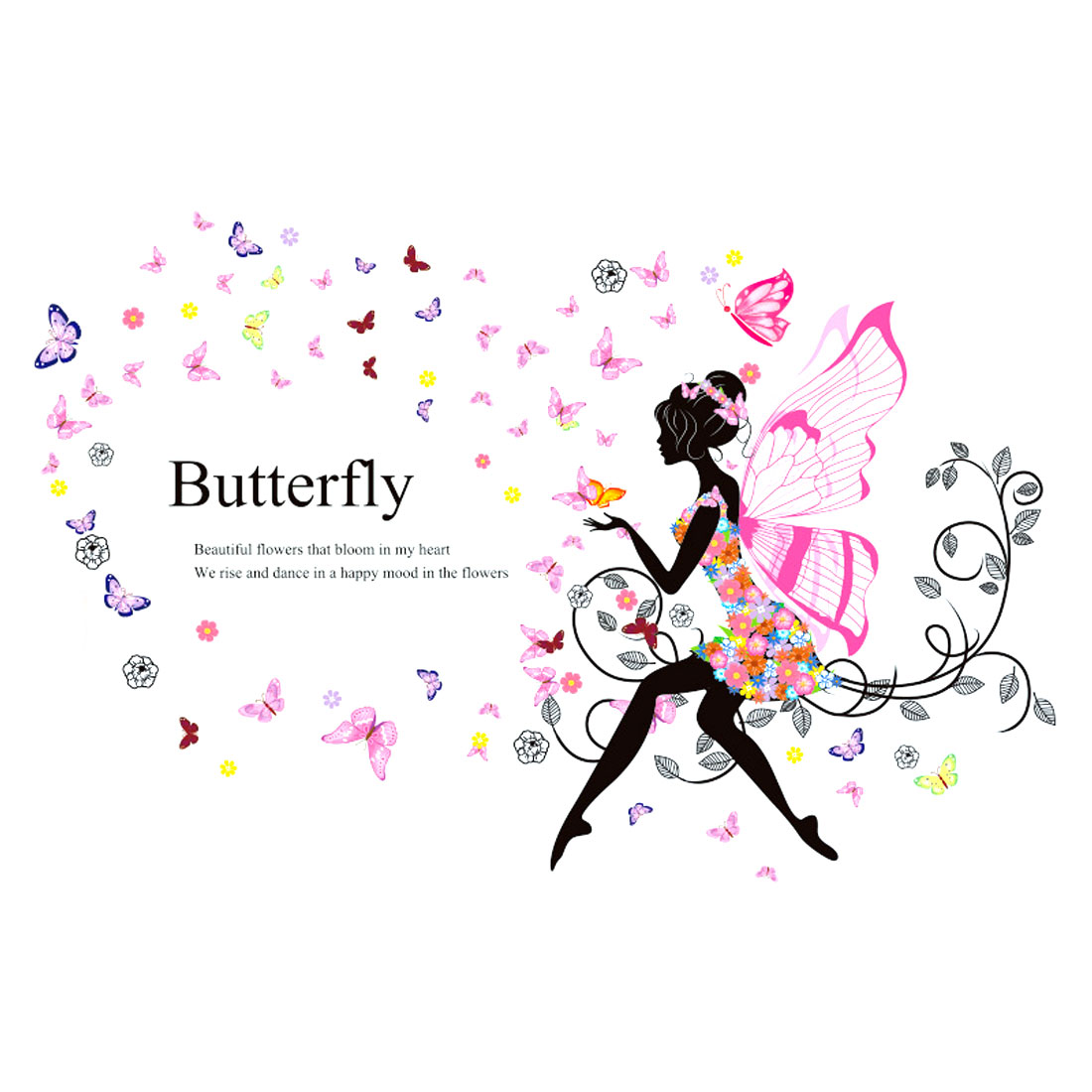 Butterfly Wing Girl Pattern Wall Sticker Removable Art Vinyl Decal DIY Home