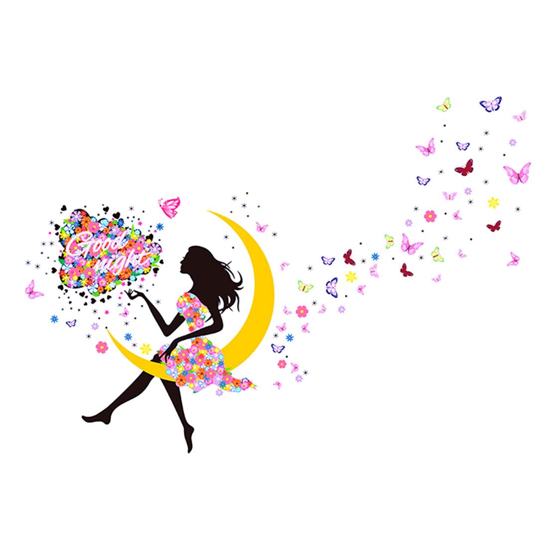 Good Night Moon Flower Girl Pattern Wall Sticker Removable Art Vinyl Decal DIY