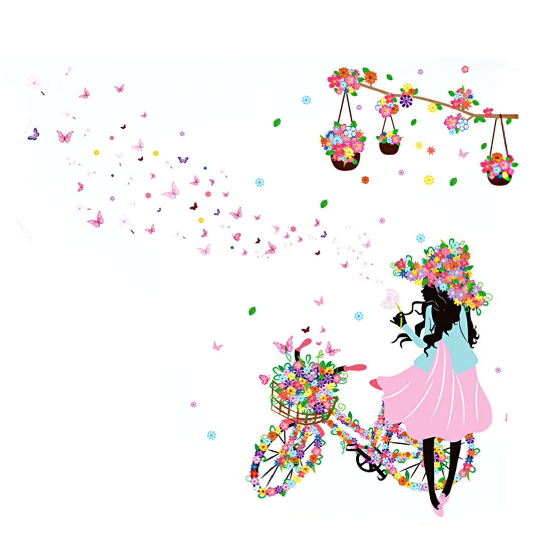 Flower Bicycle Girl Pattern Wall Sticker Removable Art Vinyl Decal DIY Home