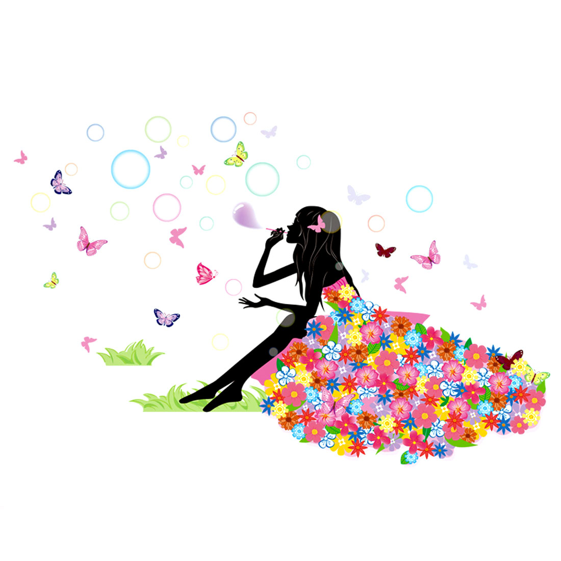 Bubble Butterfly Girl Pattern Wall Sticker Removable Art Vinyl Decal DIY Home