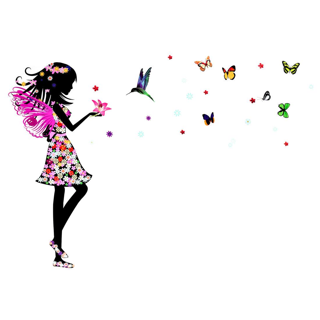 Butterfly Flower Girl Pattern Wall Sticker Removable Art Vinyl Decal DIY Home