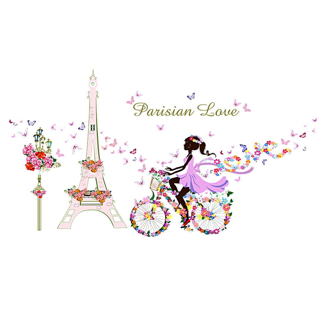 Tower Bicycle Girl Flower Pattern Wall Sticker Removable Art Vinyl Decal DIY
