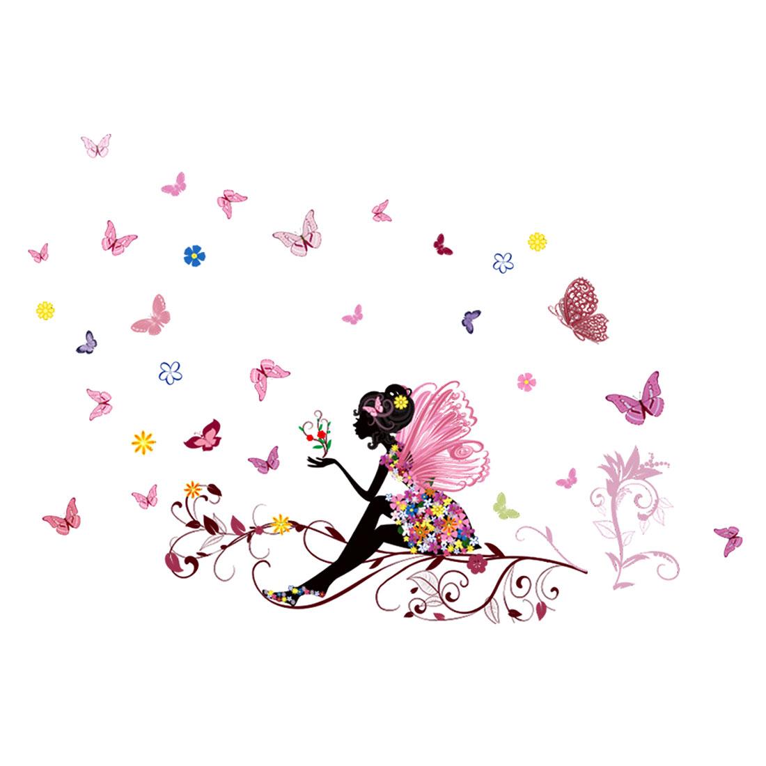 Butterfly Flower Girl Pattern Mural Wall Sticker Removable Art Vinyl Decal DIY
