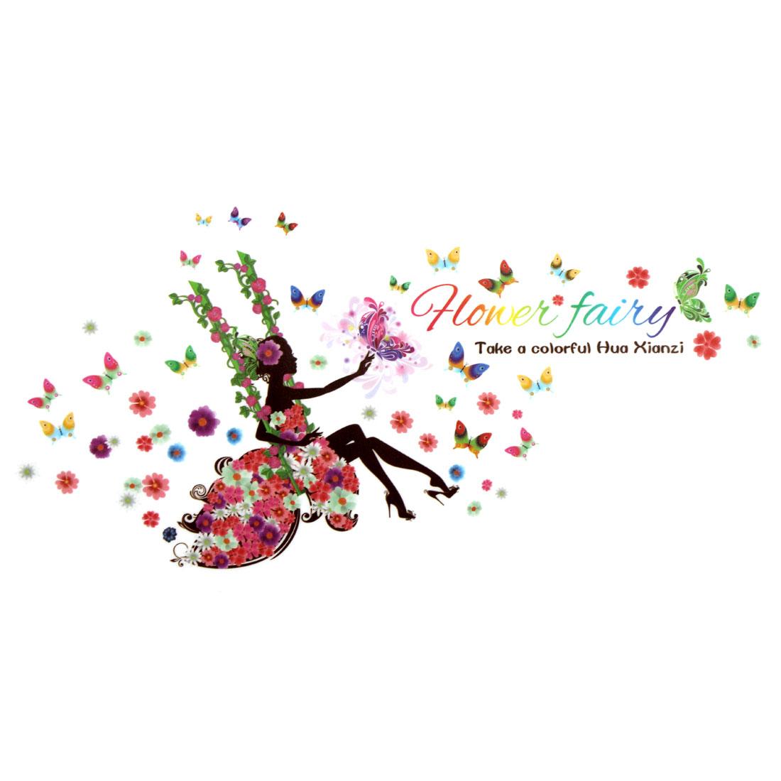 Swing Flower Butterfly Fairy Pattern Wall Sticker Removable Art Vinyl Decal DIY
