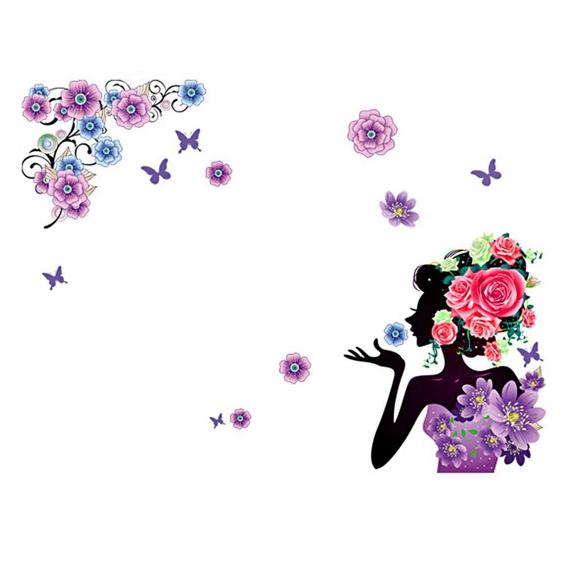 DIY Room Girl Flower Removable Wall Art Sticker Vinyl Decal Home Decor Mural