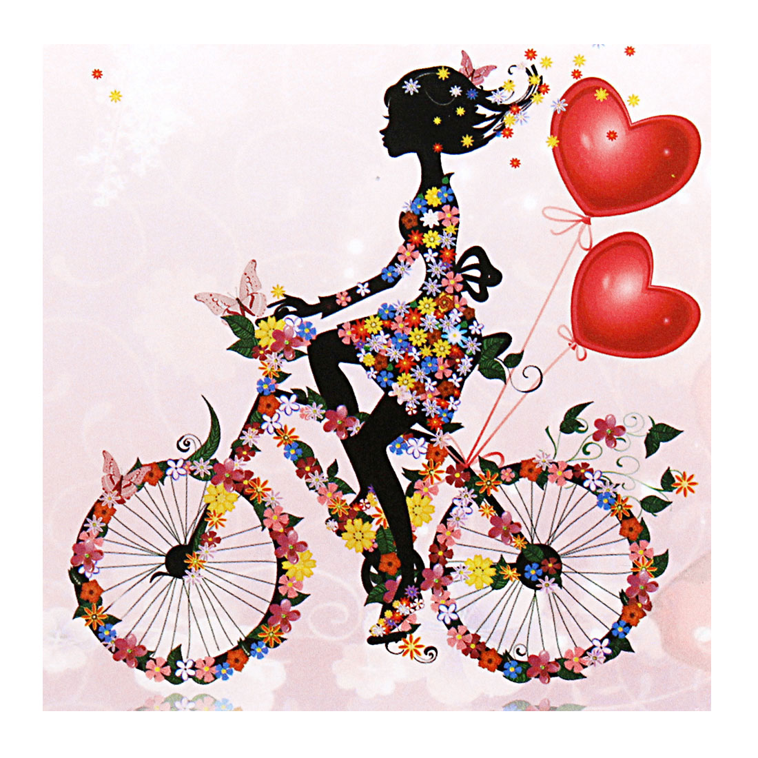 Love Heart Flower Girl Pattern Mural Wall Sticker Removable Art Vinyl Decal DIY
