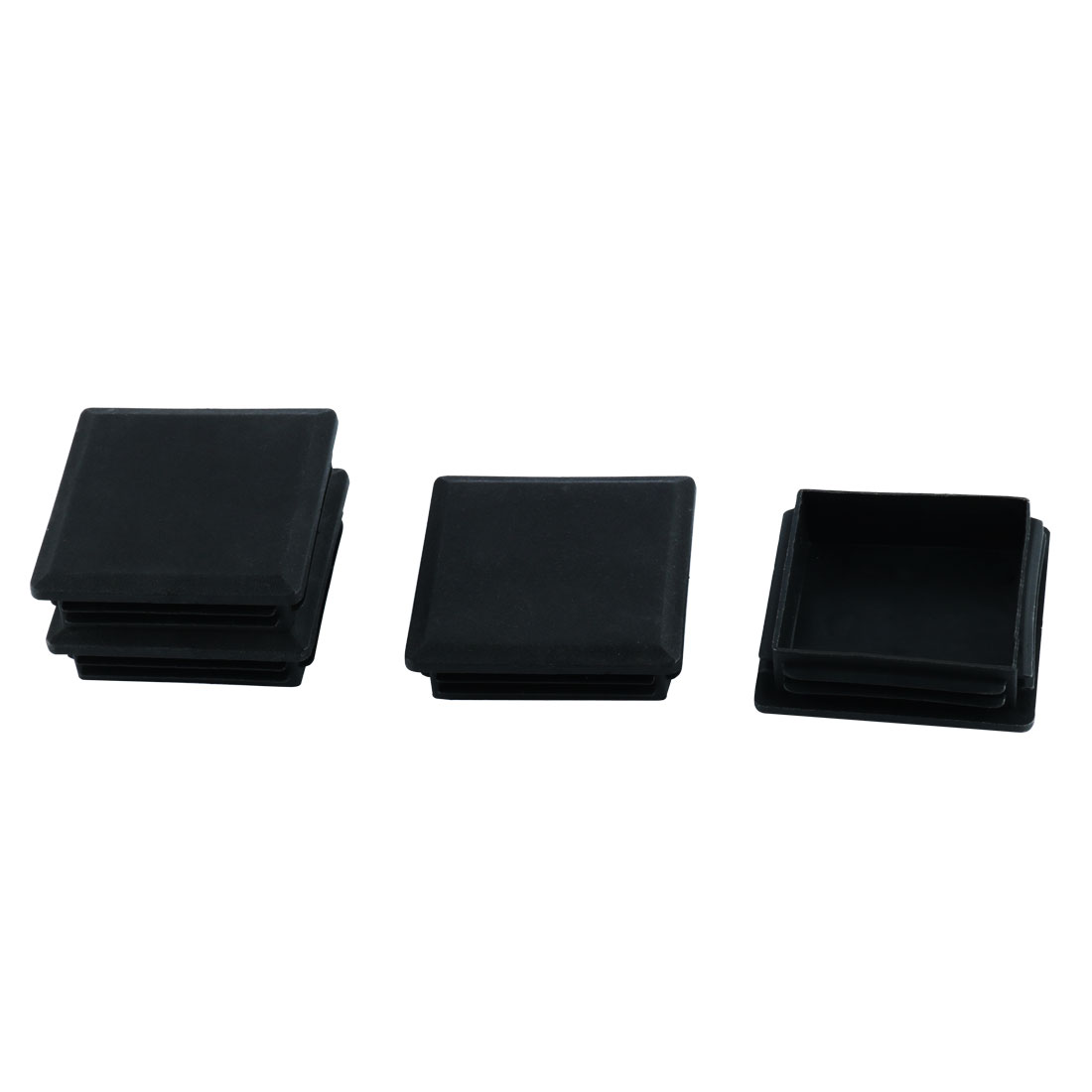 Home Table Chair Leg Protector Plastic Square Tube Pipe Feet Insert Cap Black 80mm x 80mm 4 Pcs