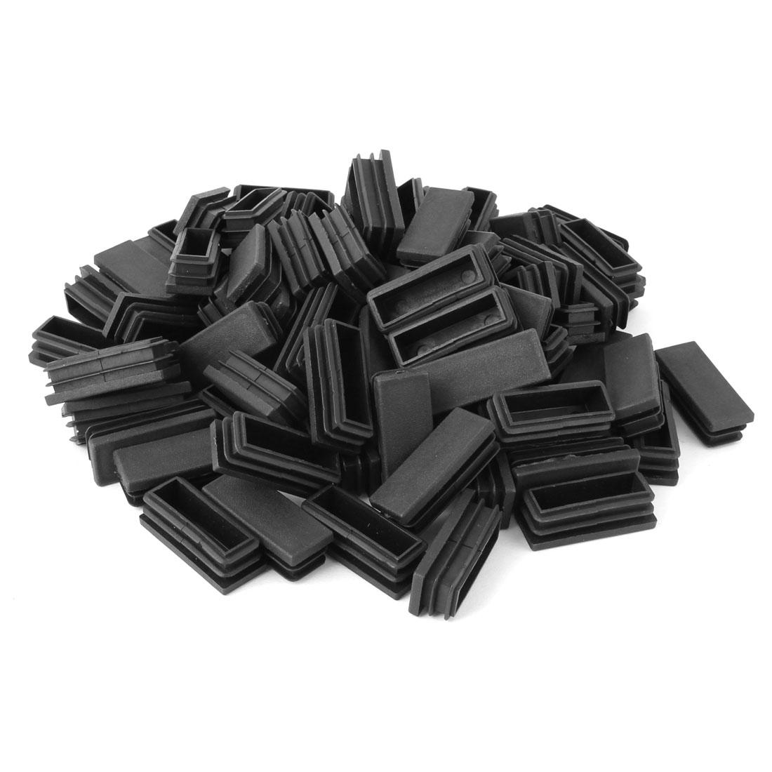 Home Plastic Rectangle Floor Protecting Furniture Table Leg Tube Inserts Black 50 x 20mm 80pcs