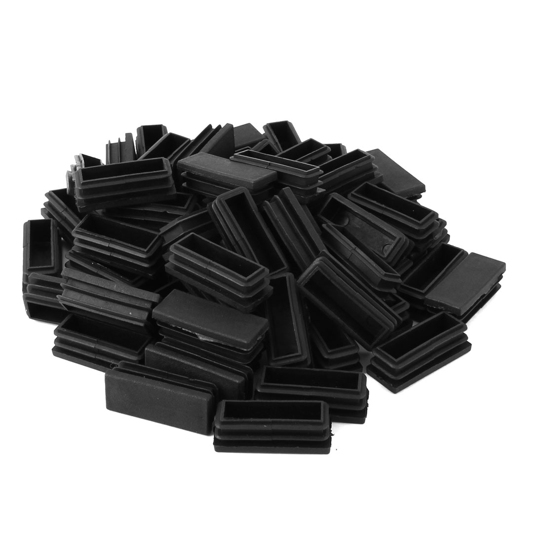 Home Plastic Rectangle Floor Protecting Furniture Table Leg Tube Inserts Black 50 x 20mm 60pcs