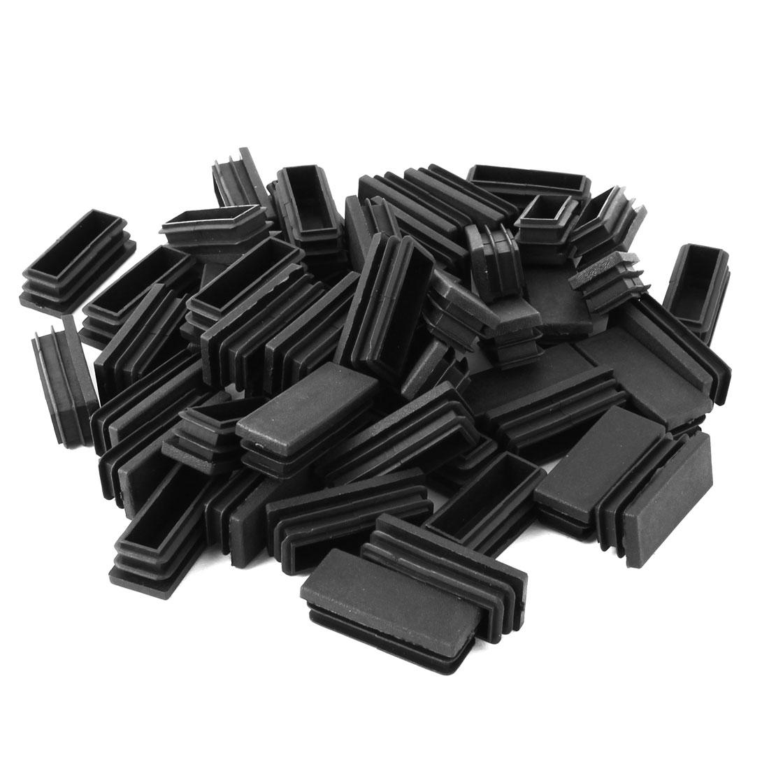 Home Office Plastic Rectangle Shaped Table Legs Tube Insert Black 50 x 20mm 50 Pcs