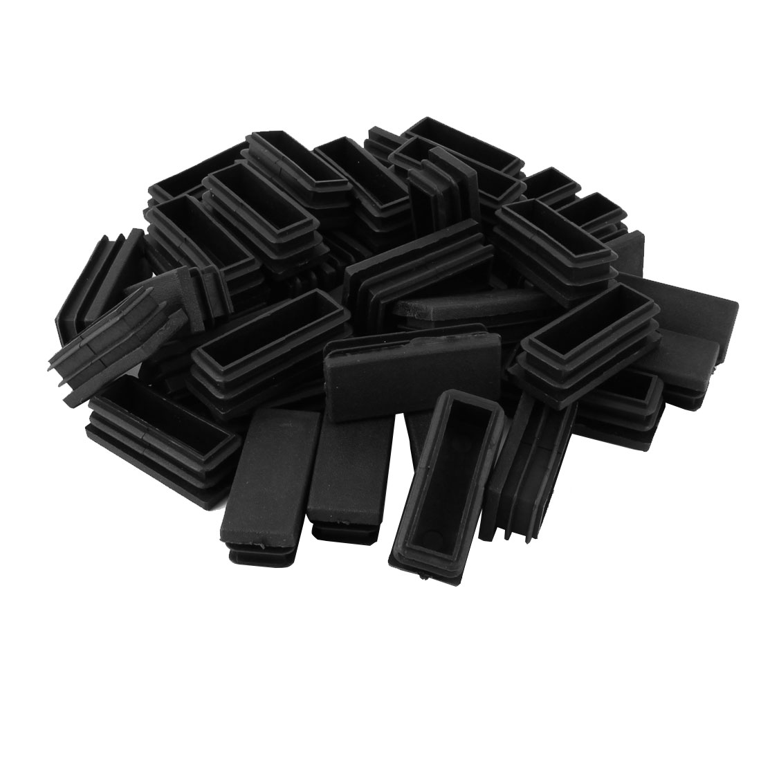 Table Chair Leg Plastic Rectangle Tube Pipe Insert Cap Black 20mmx50mm 40pcs