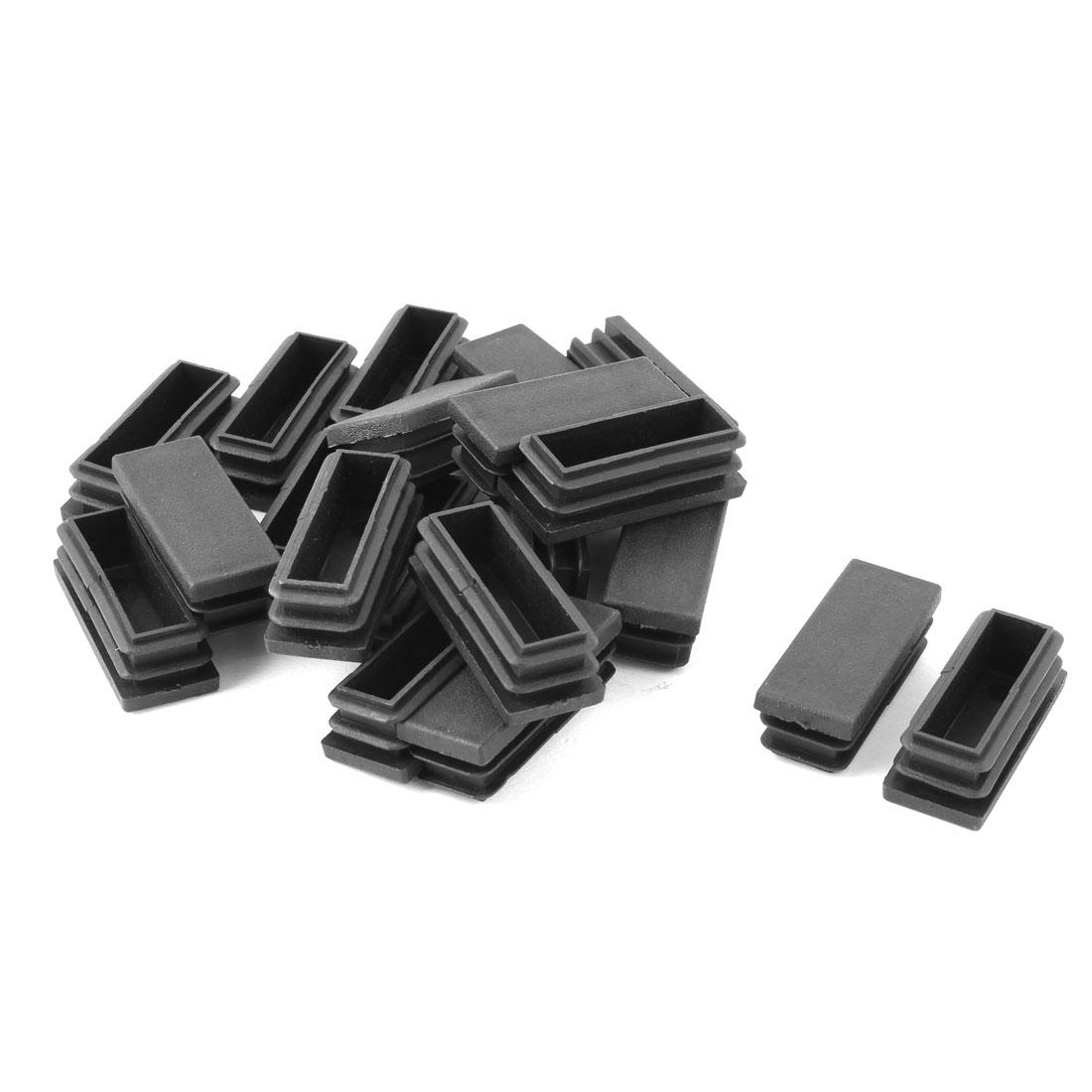 Home Plastic Rectangle Furniture Table Leg Tube Inserts Black 50 x 20mm 20pcs