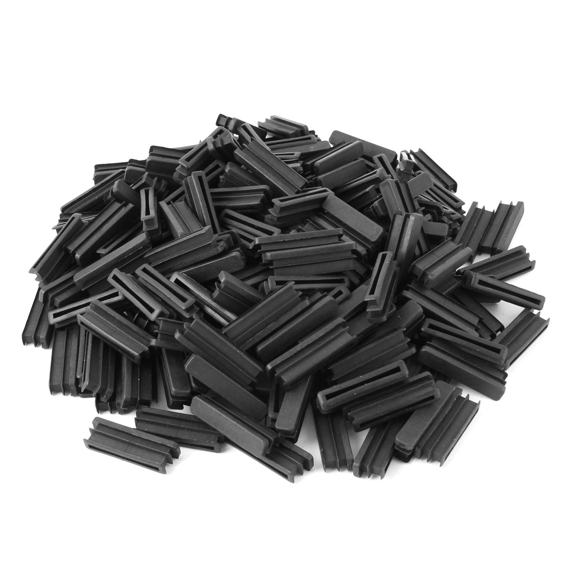 Home Plastic Rectangle Shaped Furniture Legs Tube Insert Black 50 x 10mm 200 Pcs