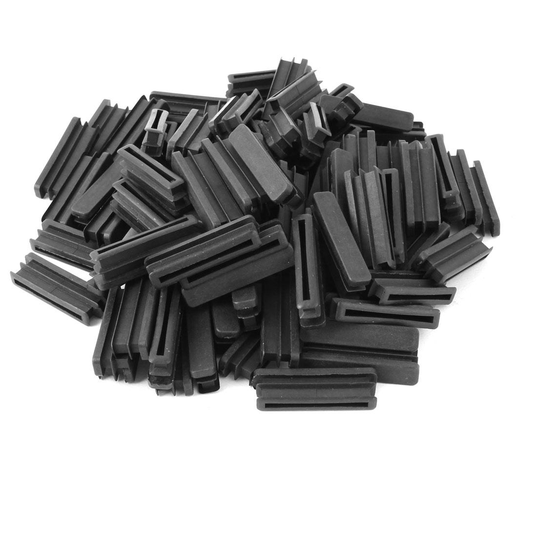 Home Plastic Rectangle Floor Protecting Furniture Table Leg Tube Inserts Black 50 x 10mm 100pcs