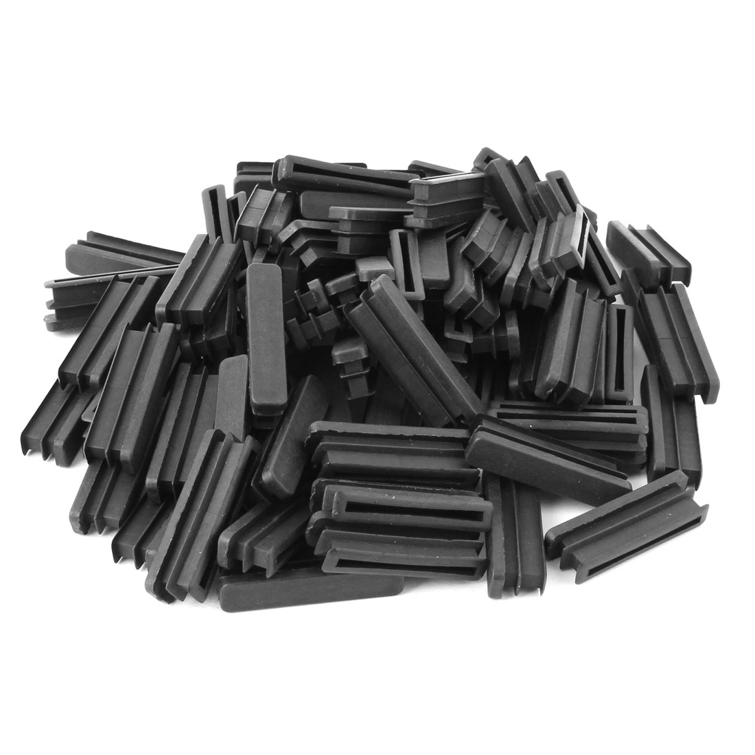 Home Plastic Rectangle Floor Protecting Furniture Table Leg Tube Inserts Black 50 x 10mm 80pcs
