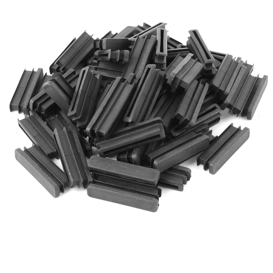 Home Plastic Rectangle Floor Protecting Furniture Table Leg Tube Inserts Black 50 x 10mm 60pcs