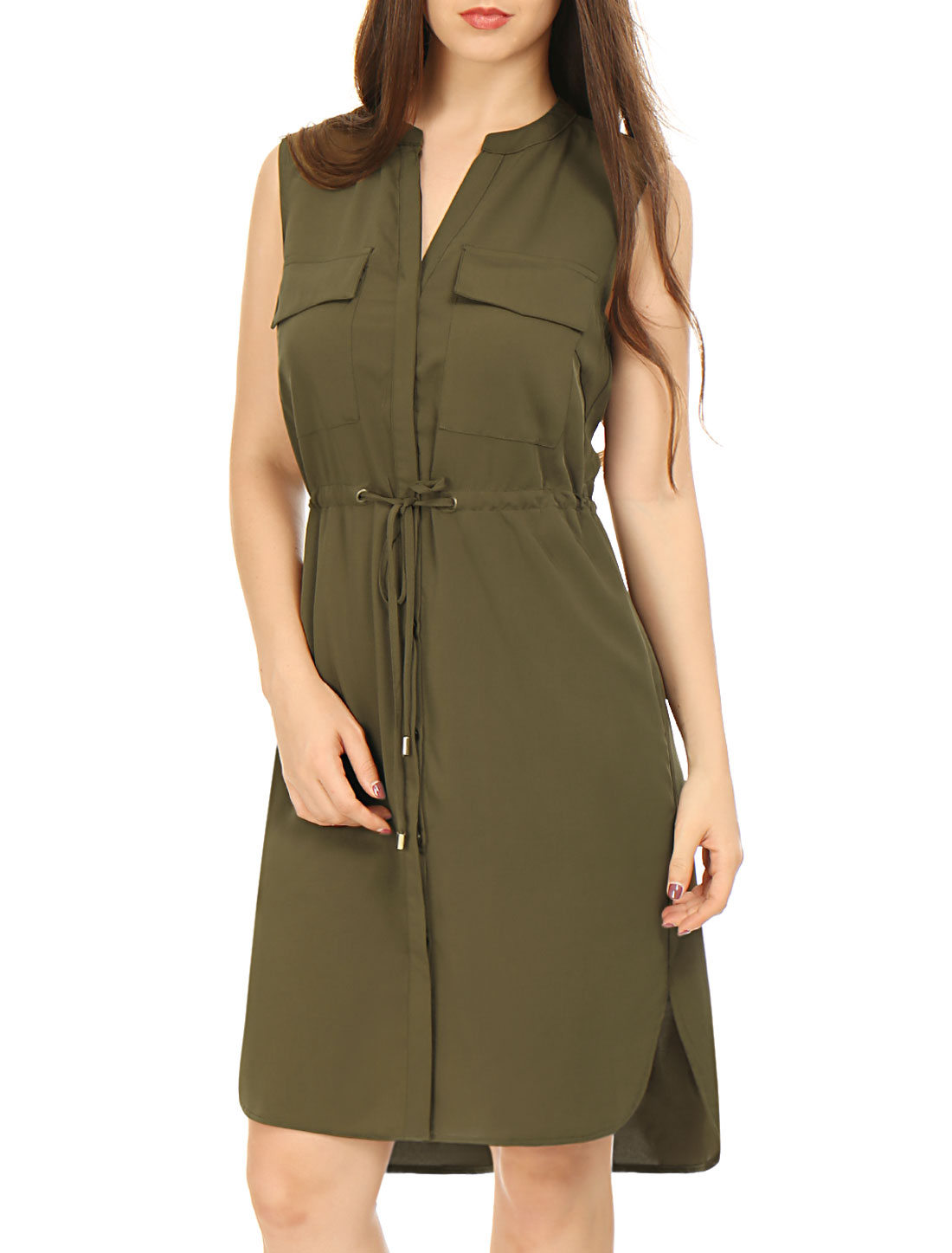 Allegra K Woman Single Breasted Drawstring Sleeveless Dress Green XS