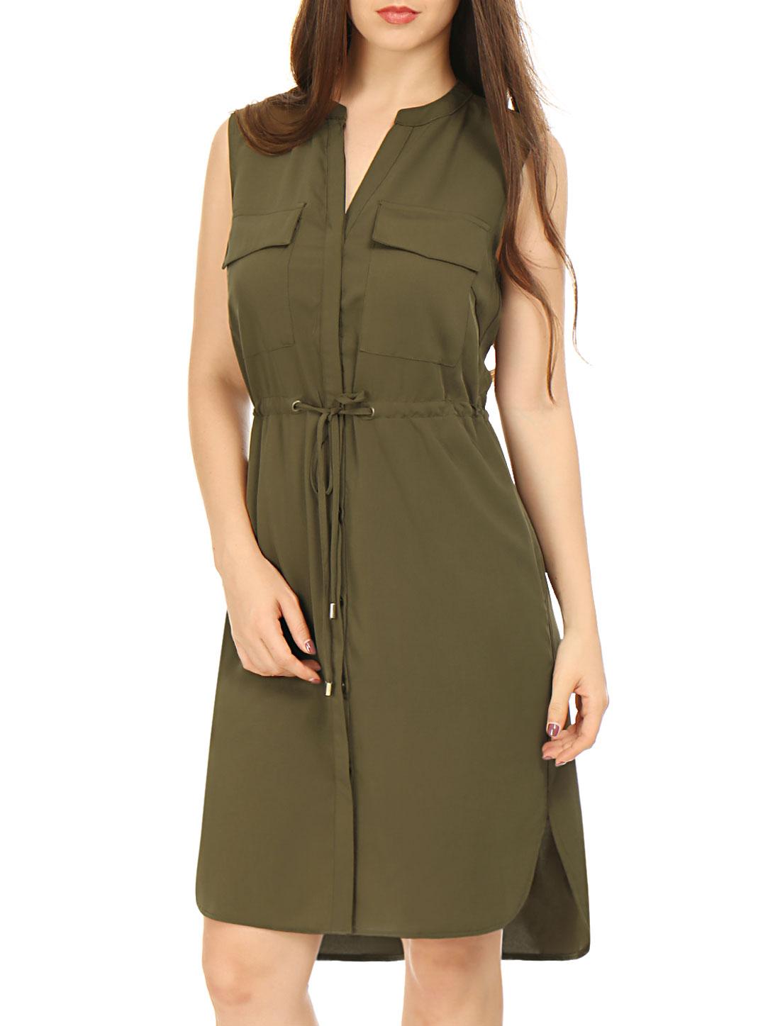 Allegra K Woman Single Breasted Drawstring Sleeveless Dress Green M