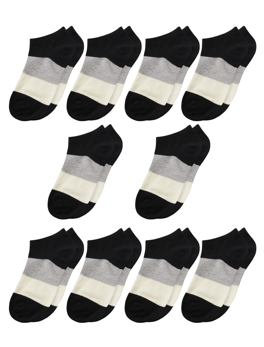 Women Low Cut Ankle Length Color Block Short Socks 10 Pairs Black 9-11