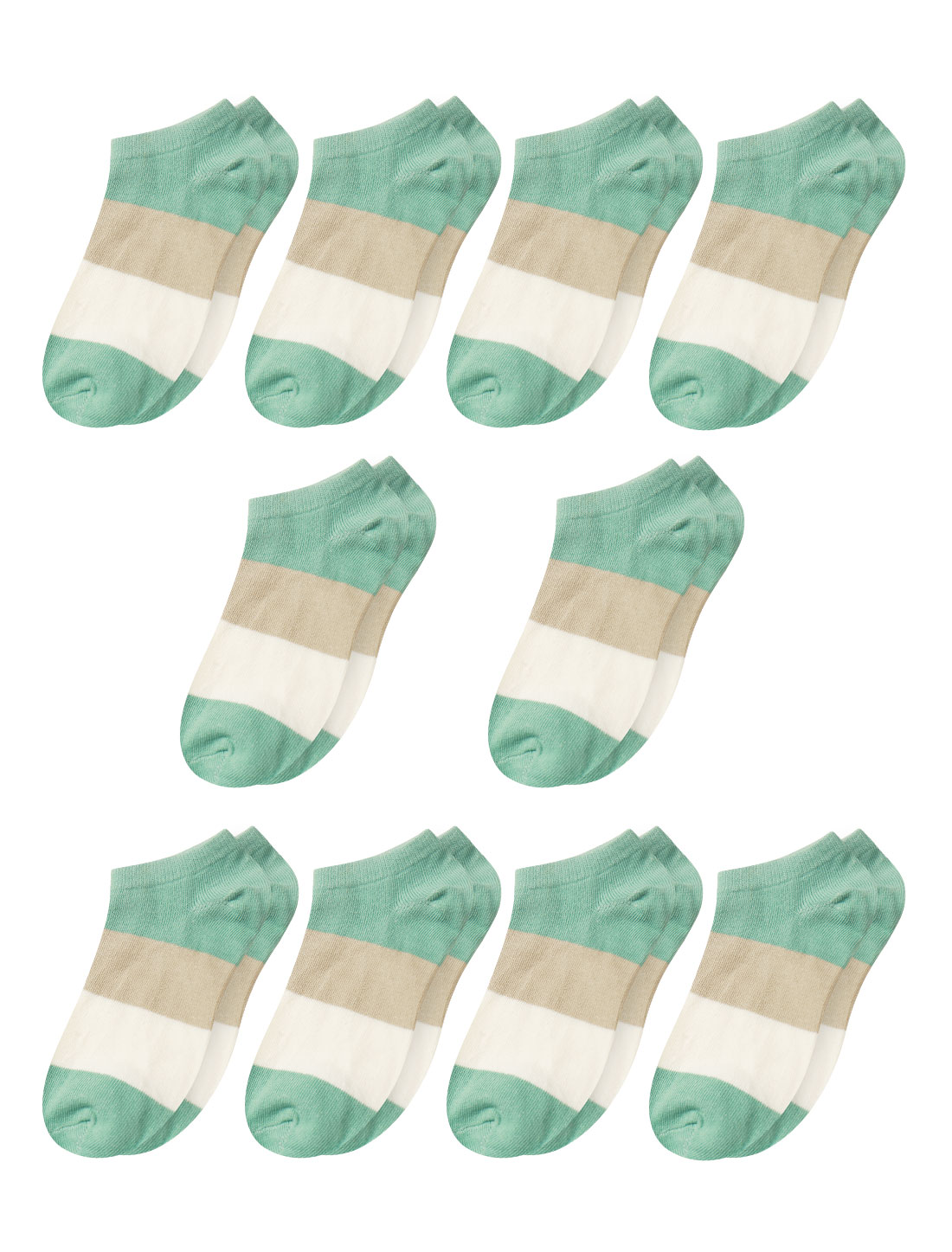 Women Low Cut Ankle Length Color Block Short Socks 10 Pairs Green 9-11