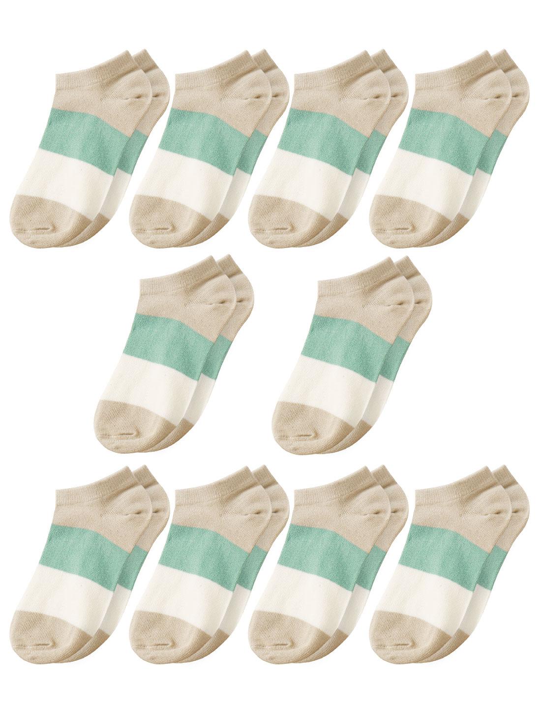 Women Low Cut Ankle Length Color Block Short Socks 10 Pairs Beige 9-11