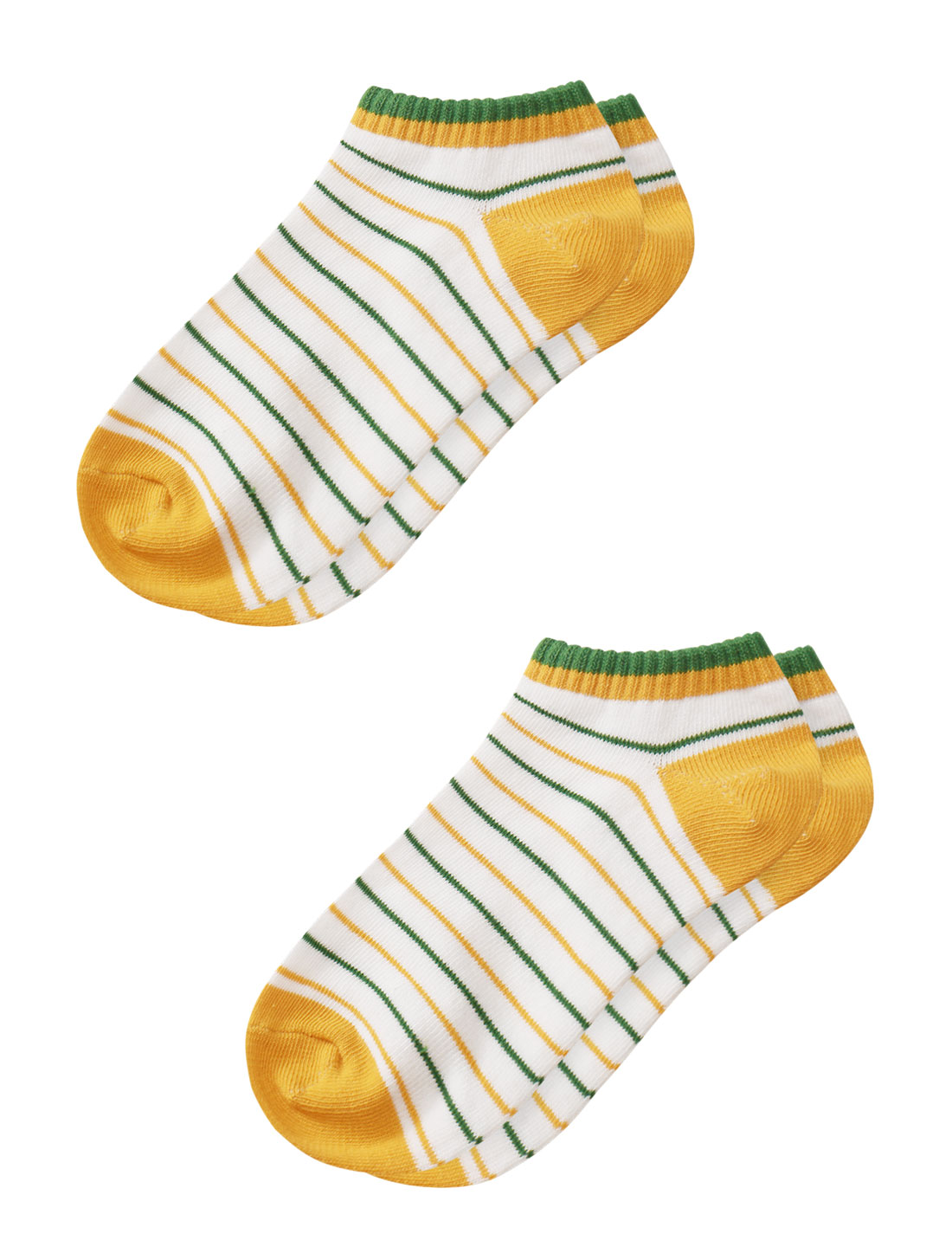 Women Low Cut Elastic Cuffs Stripes Ankle Short Socks 2 Pairs Yellow 7-9