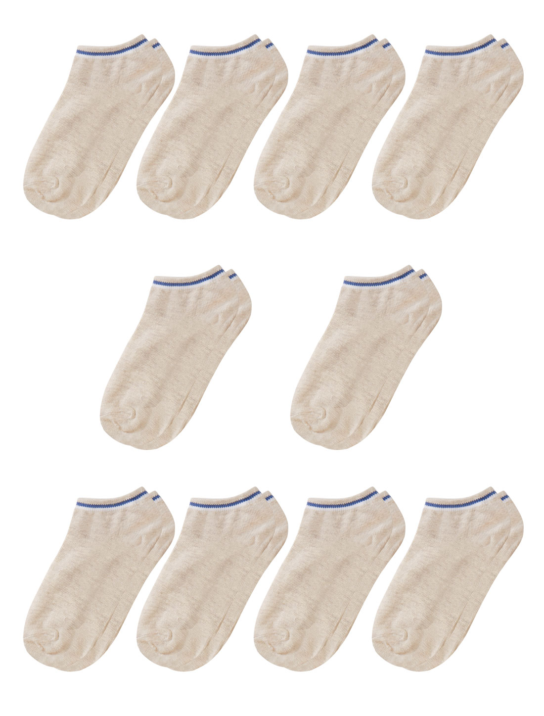 Women Low Cut Elastic Cuffs Ankle Length Short Socks 10 Pairs Beige