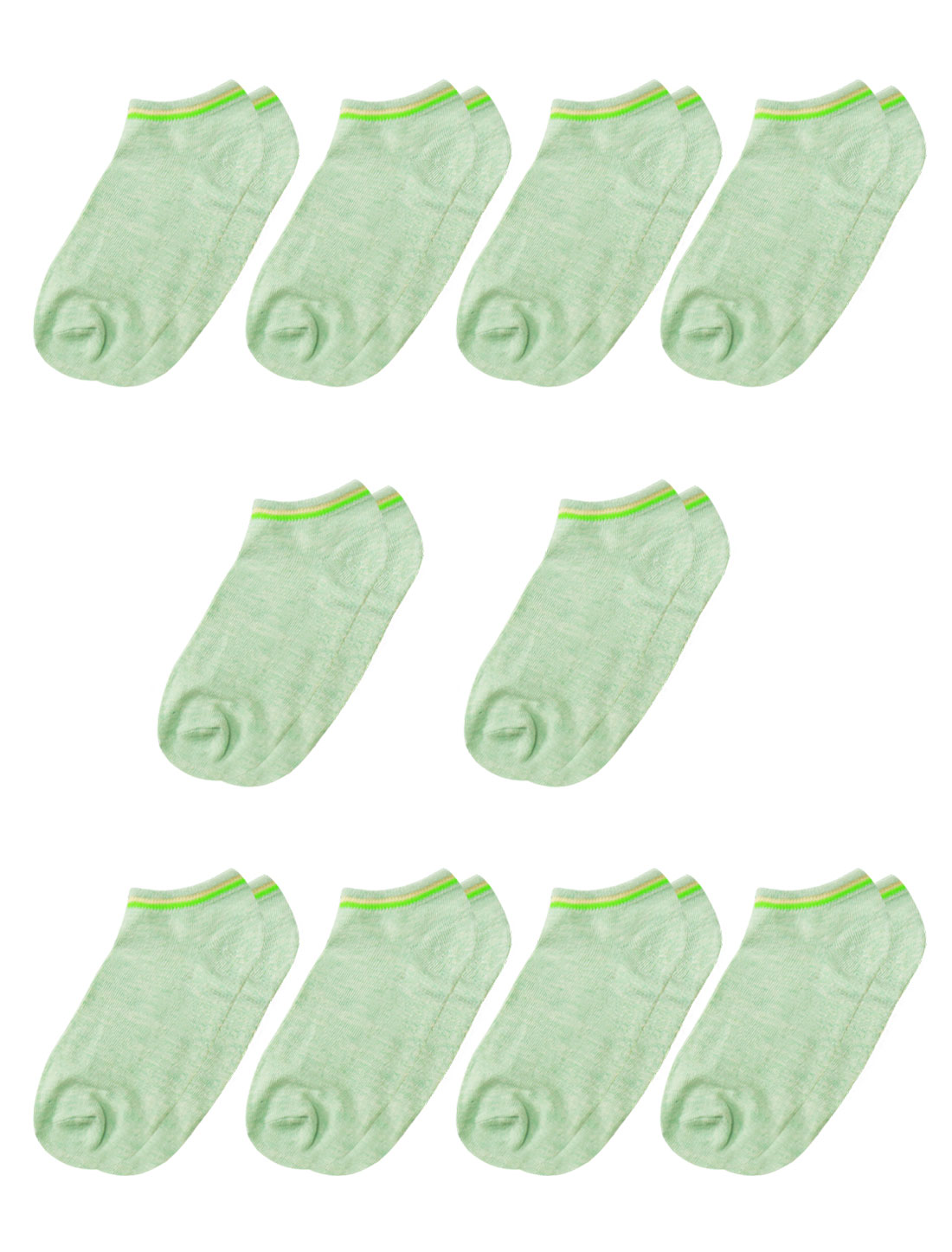 Women Low Cut Elastic Cuffs Ankle Length Short Socks 10 Pairs Green