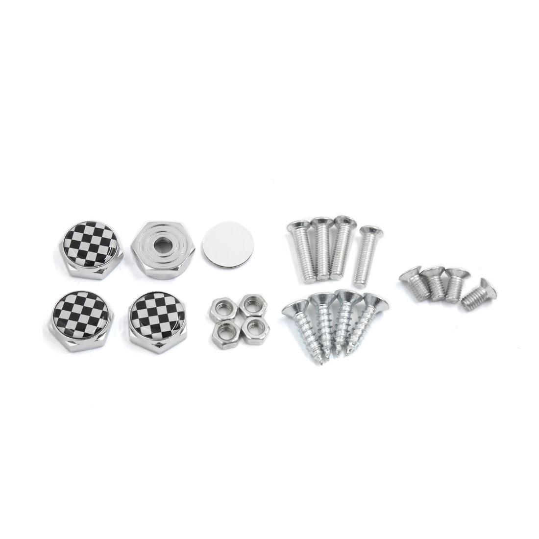 4 Pcs Metal Black White Grid Pattern Car License Plate Caps Screw Bolt