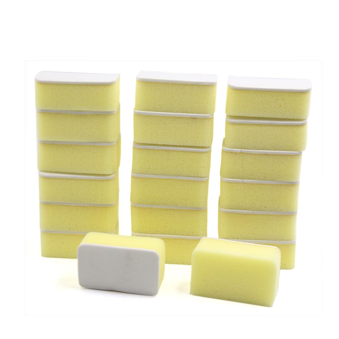 20Pcs Yellow Rectangle Suction Sponge Block Washing Pad Auto Cleaning Tool