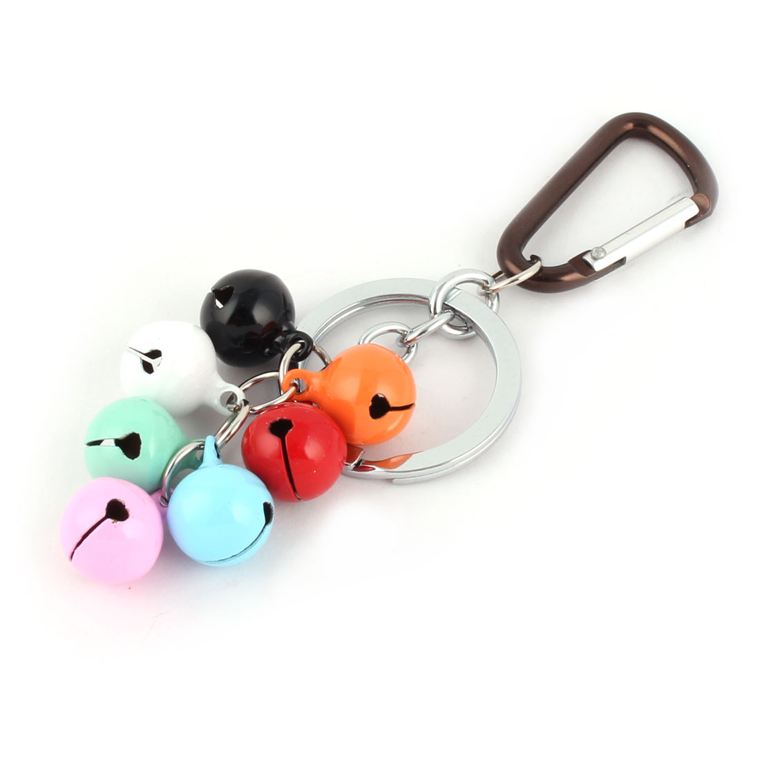 Spring Loaded Gate Carabiner 7 Bell Pendant Key Ring Chain Holder Decoration Colorful