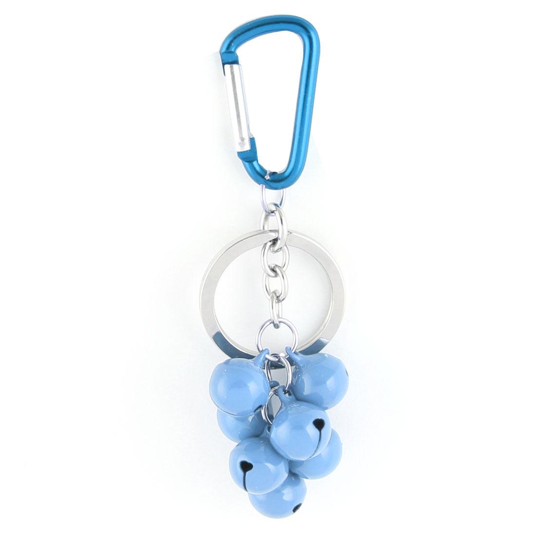 Metal Carabiner 7 Bell Pendant Key Ring Holder Handbag Decoration Blue