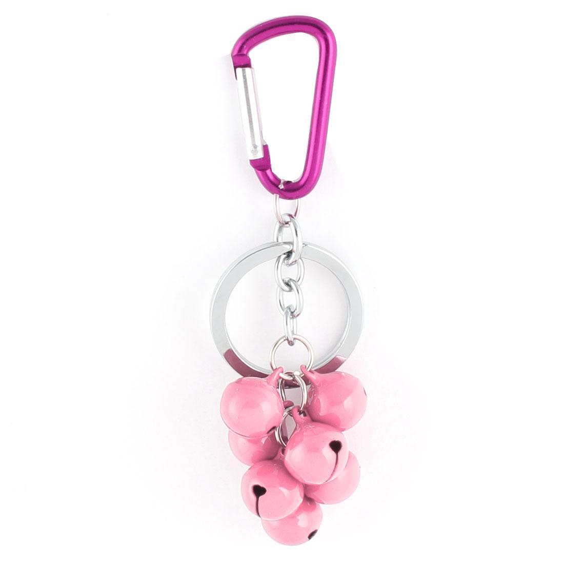 Metal Carabiner 7 Bell Pendant Key Ring Holder Handbag Decoration Pink