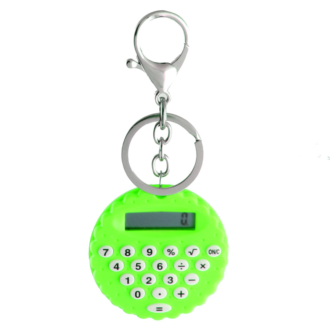 Plastic Biscuit Shaped Shell LCD Display 8-digit Pocket Portable Calculator Green w Key Chain