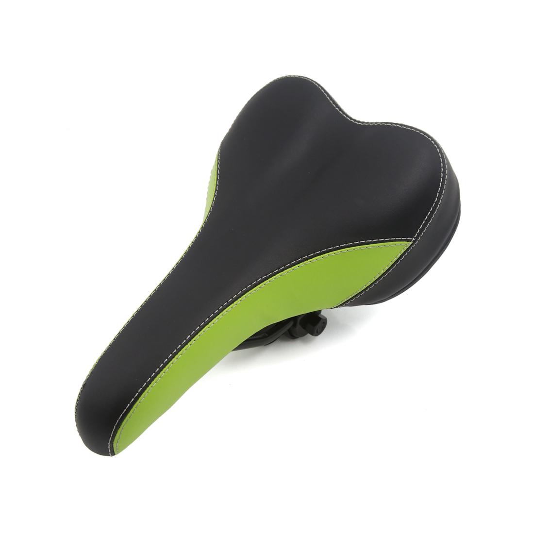 Green Black Faux Leather Bicycle Biking Pad Road MTB Sport Bike Seat Saddle