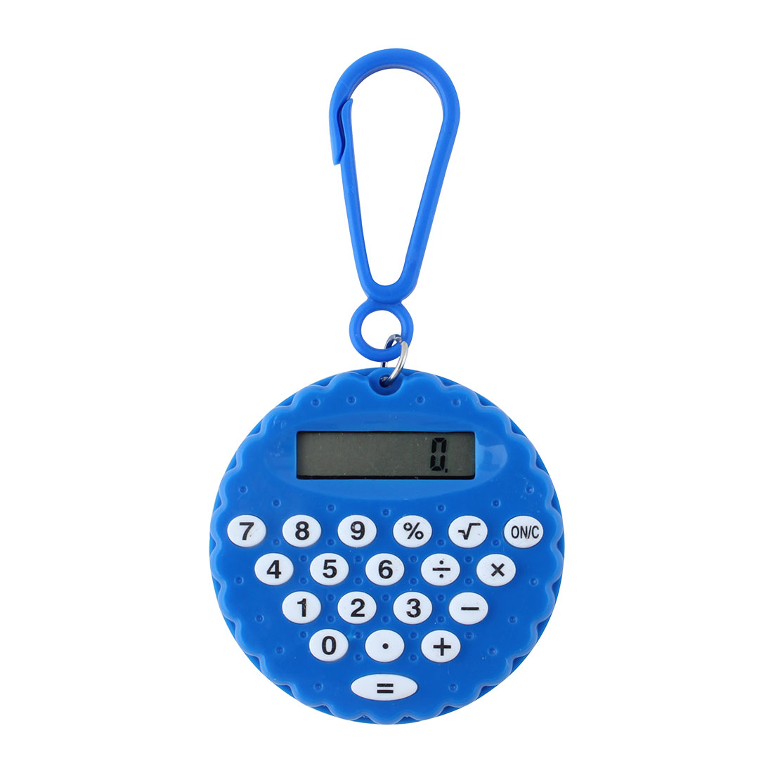Plastic Biscuit Shaped Shell LCD Display 8-digit Pocket Portable Calculator Blue w Key Chain