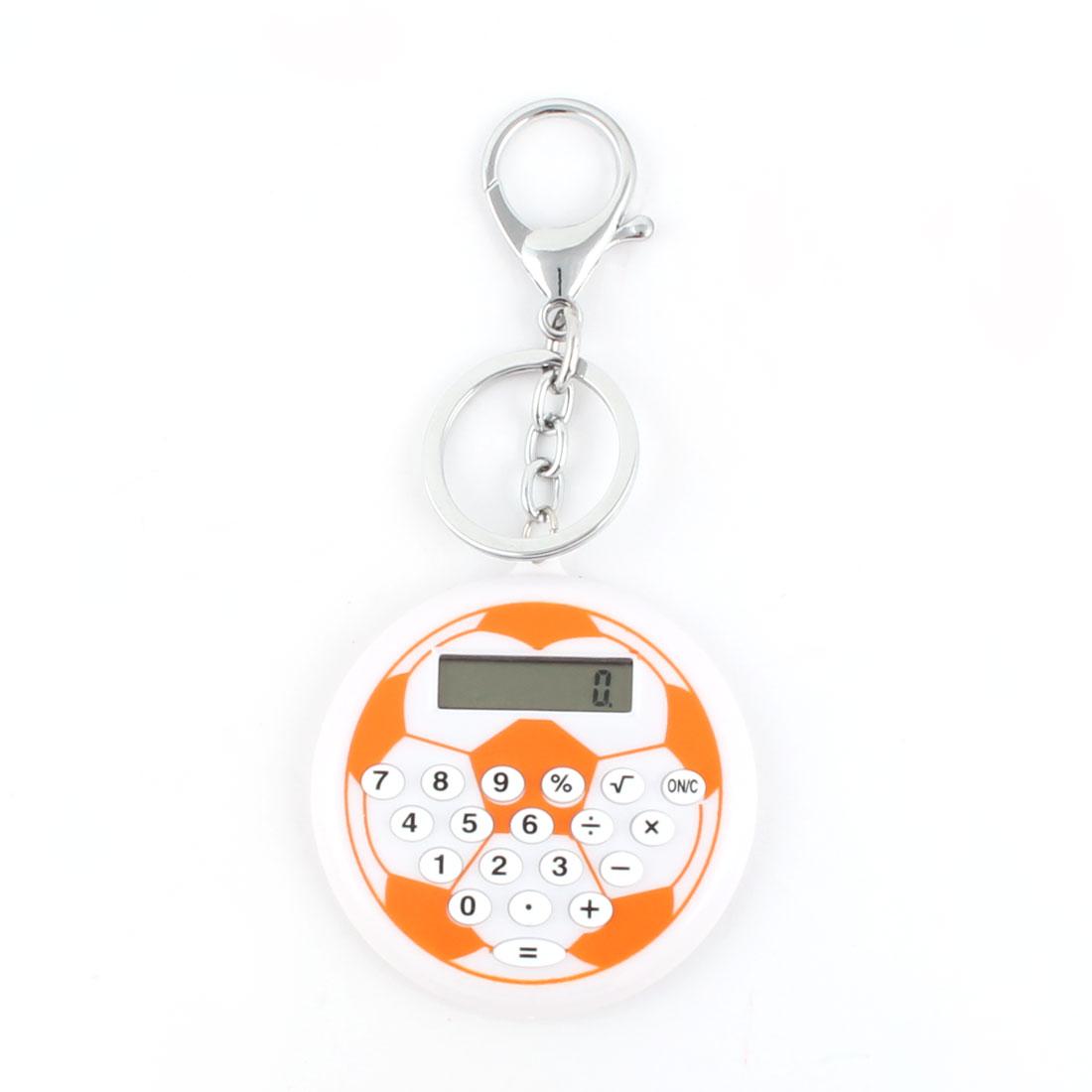 LCD Display Soccer Ball Pattern 8 Digit Pocket Portable Key Chain Calculator Orange