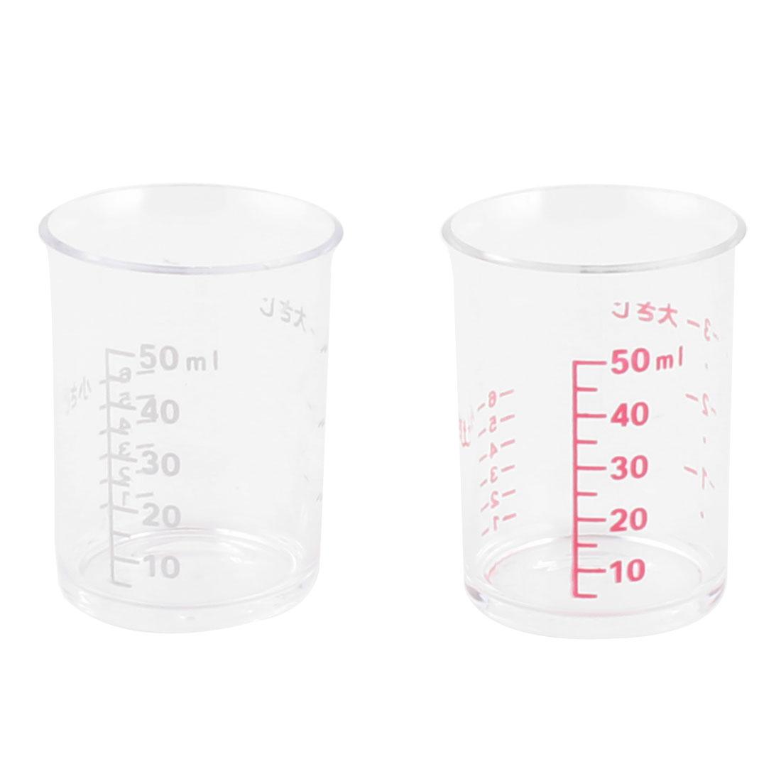 Plastic Baking Cooking Digit Degree Scale Liquid Powder Measuring Cup 50ml 2pcs