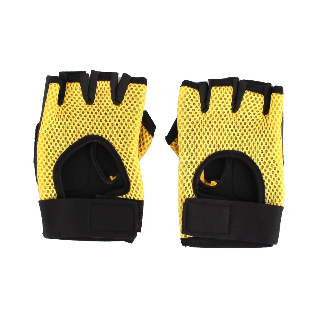 Skating Weightlifting Cycling Sport Half Finger Fingerless Gloves Black Yellow Pair