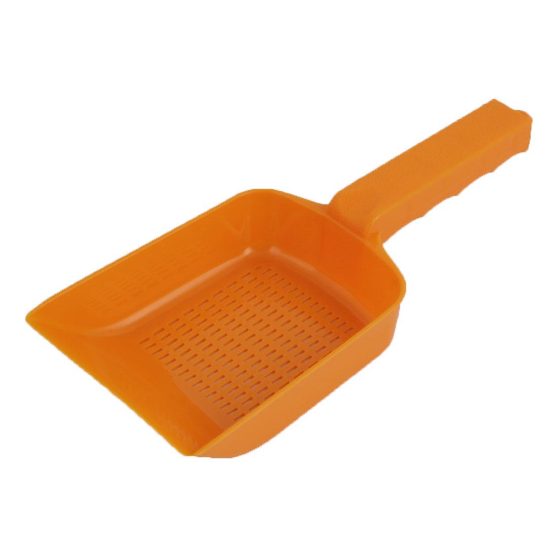 Fish Tank Plastic Multihole Shovel Sand Scraper Scoop Pan Poop Kit Orange