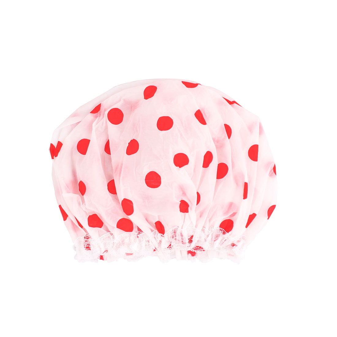 Ladies Plastic Dot Pattern Elastic Band Bathing Shower Cap Red White