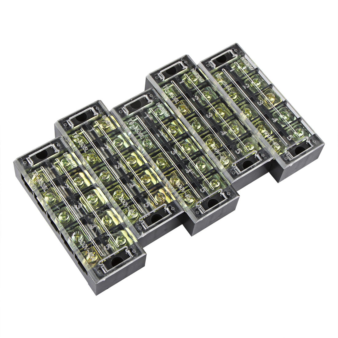 5 Pcs 5 Positions Dual Rows 600V 45A Wire Barrier Block Terminal Strip TB-4505