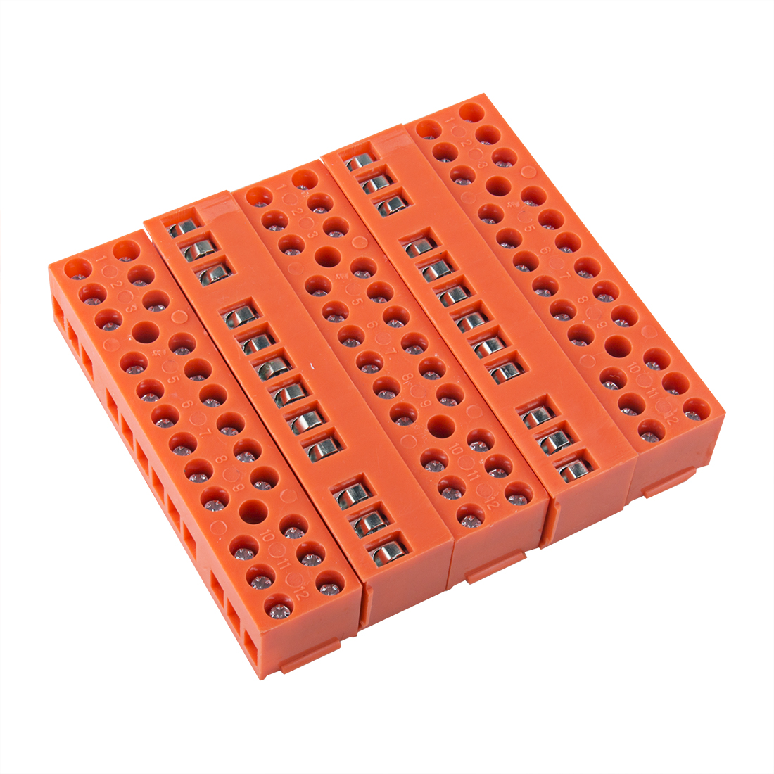5 Pcs 600V 36A Dual Row 12 Positions Screw Terminal Electric Barrier Strip Block